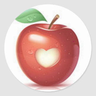 Apple heart classic round sticker