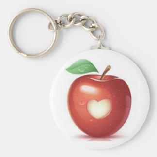 Apple heart basic round button keychain