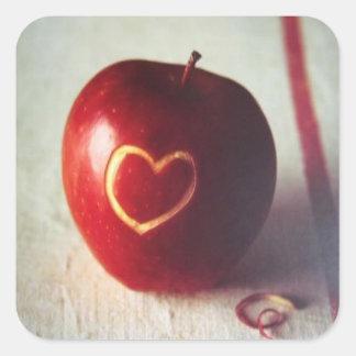Apple Heart Square Sticker