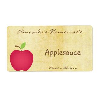 Apple hecho en casa que conserva la etiqueta etiqueta de envío
