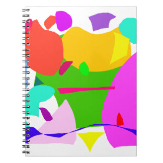 Apple House Purple Hat Red Boat Green Spiral Notebook