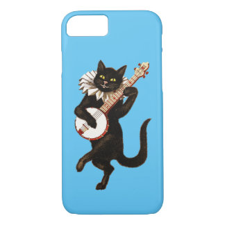 Apple iPhone 7 Case: Black Cat Playing Banjo iPhone 7 Case