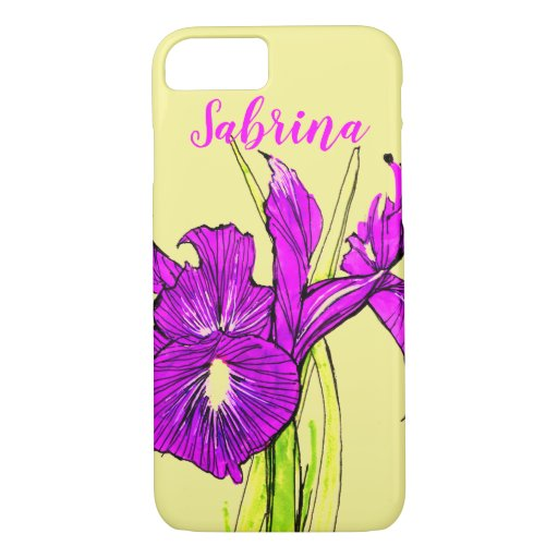 Apple iPhone case with Iris art textText