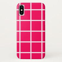 "Apple iPhone X case ""Grid"" - Fuchsia/White"