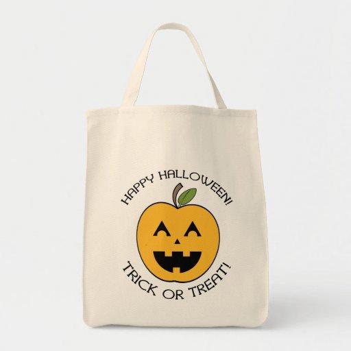 Apple Jack O Lantern Happy Halloween Treat Bag