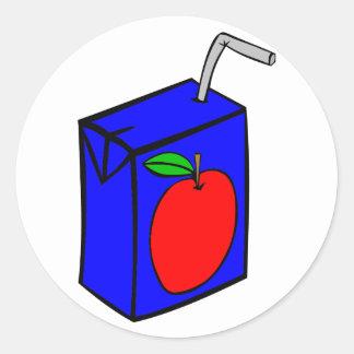 Apple juice with straw classic round sticker