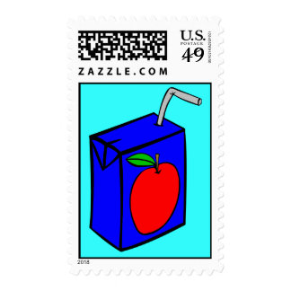 Apple juice with straw postage stamp