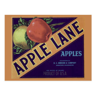 """Apple Lane"" Fruit Crate Label Postcard"