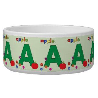 Apple Letter A Pet Bowl
