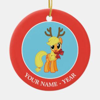 Apple levanta el reno adorno navideño redondo de cerámica