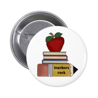 Apple, libros, roca de los profesores del lápiz pin redondo de 2 pulgadas