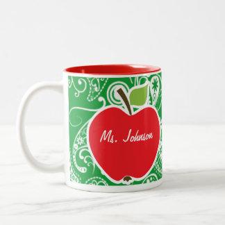 Apple lindo en Kelly Paisley verde Tazas De Café