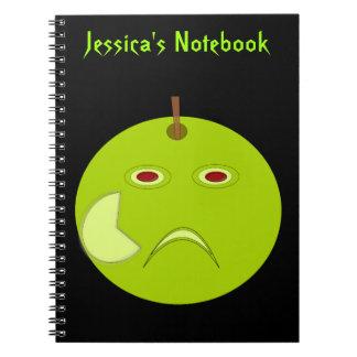 Apple malvado con el cuaderno del personalizado de