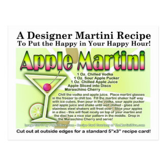 Apple Martini (Appletini) Recipe Postcard