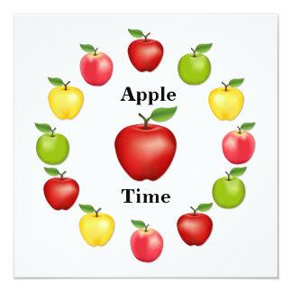 """Apple mide el tiempo, delicioso, granny smith, invitación 5.25"""" x 5.25"""""""