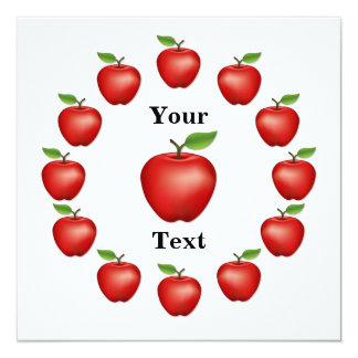 """Apple mide el tiempo, red delicious invitación 5.25"""" x 5.25"""""""