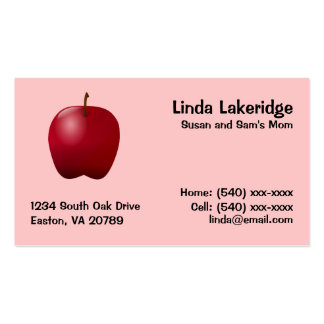 Apple Mommy Contact  Info Card Double-Sided Standard Business Cards (Pack Of 100)
