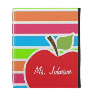 Apple; Neon Stripes; Pink Blue Green iPad Case