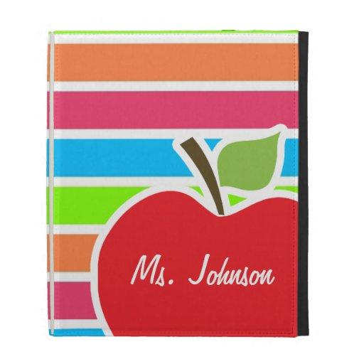 Apple; Neon Stripes; Pink Blue Green iPad Case