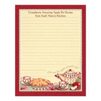 Apple of God s Eye Recipe Paper for Recipe Binders Customized Letterhead
