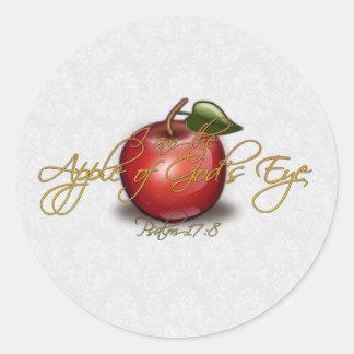 Apple of God's Eye, Christian Classic Round Sticker