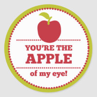 Apple of My Eye Fruit Valentine Classic Round Sticker