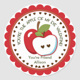 Apple of my eye Valentine Personalized Name Classic Round Sticker