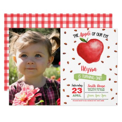 Apple of Our Eye First Birthday Invitation w/Photo