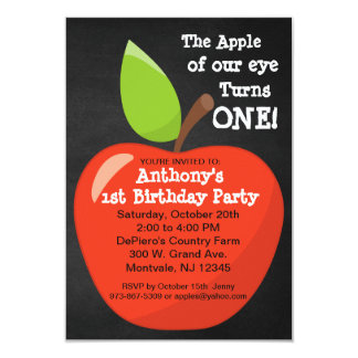 Apple of our Eye First Birthday Party Card