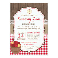 Apple of our Eye Rustic Fall Birthday Invitation