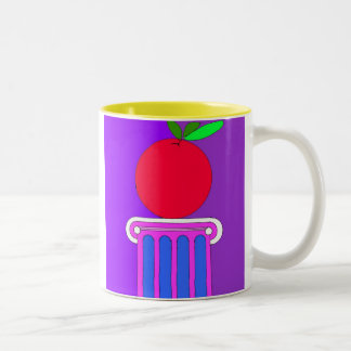 Apple on a pedestal  Two-Tone coffee mug