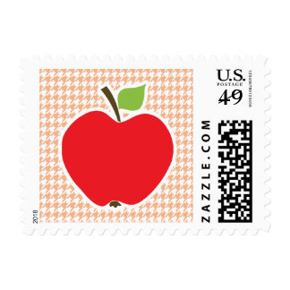 Apple on Apricot Color Houndstooth Postage