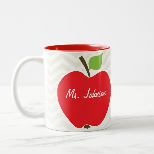 Apple on Beige Chevron; zig zag Two-Tone Coffee Mug