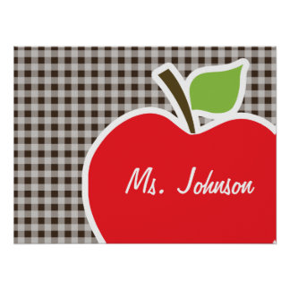 Apple on Bistre Brown Gingham Poster