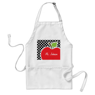 Apple on Black and White Polka Dots Adult Apron
