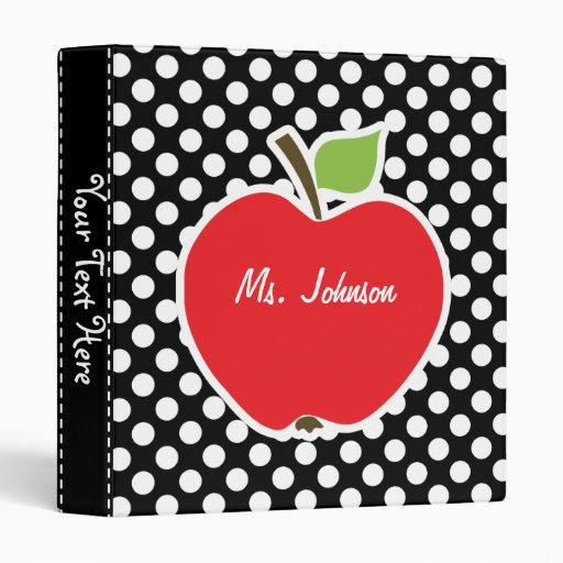 Apple on Black and White Polka Dots 3 Ring Binders