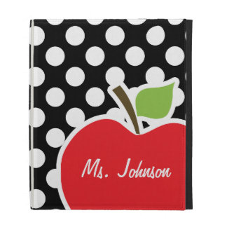 Apple on Black and White Polka Dots iPad Folio Cases