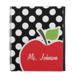 Apple on Black and White Polka Dots iPad Cases