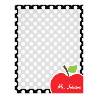 Apple on Black and White Polka Dots Letterhead
