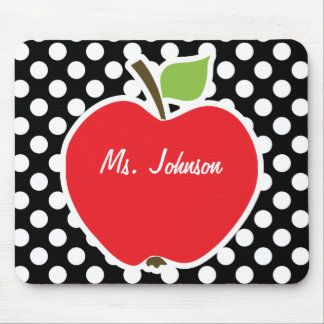 Apple on Black and White Polka Dots Mouse Pad