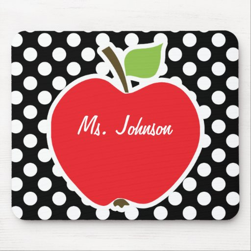 Apple on Black and White Polka Dots Mouse Pads