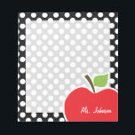 "Apple on Black and White Polka Dots Notepad<br><div class=""desc"">You will love this cute, red apple, teacher themed Black and White Polka Dots pattern design! This red apple design is a great gift for the world&#39;s best teacher or professor! Visit our store, Baby Shower Boutique, to view this cool, trendy pattern on many more customizable products, including modern teacher...</div>"