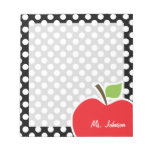 Apple on Black and White Polka Dots Notepad<br><div class='desc'>You will love this cute, red apple, teacher themed Black and White Polka Dots pattern design! This red apple design is a great gift for the world&#39;s best teacher or professor! Visit our store, Baby Shower Boutique, to view this cool, trendy pattern on many more customizable products, including modern teacher...</div>