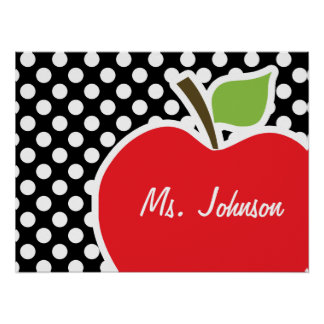 Apple on Black and White Polka Dots Poster