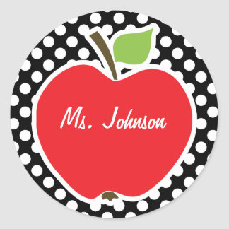Apple on Black and White Polka Dots Classic Round Sticker