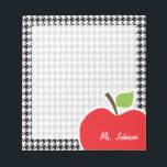 "Apple on Black &amp; White Houndstooth Notepad<br><div class=""desc"">You will love this cute, red apple, teacher themed Black &amp; White Houndstooth pattern design! This red apple design is a great gift for the world&#39;s best teacher or professor! Visit our store, Baby Shower Boutique, to view this cool, trendy pattern on many more customizable products, including modern teacher baby...</div>"