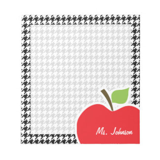 Apple on Black & White Houndstooth Notepad