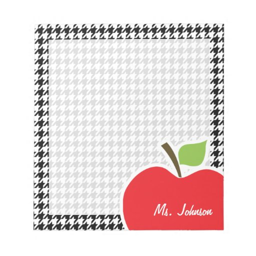 Apple on Black & White Houndstooth Memo Notepads