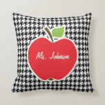 Apple on Black & White Houndstooth Pillows