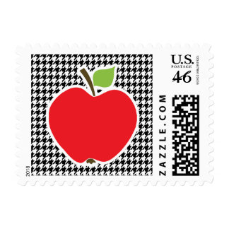 Apple on Black White Houndstooth Postage Stamp